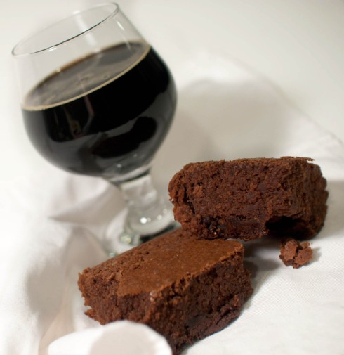 Boozy, Fudgy Brownies (featuring Half Acre Beer and Lion's Pride Whiskey) from freshandfoodie.com @freshandfoodie