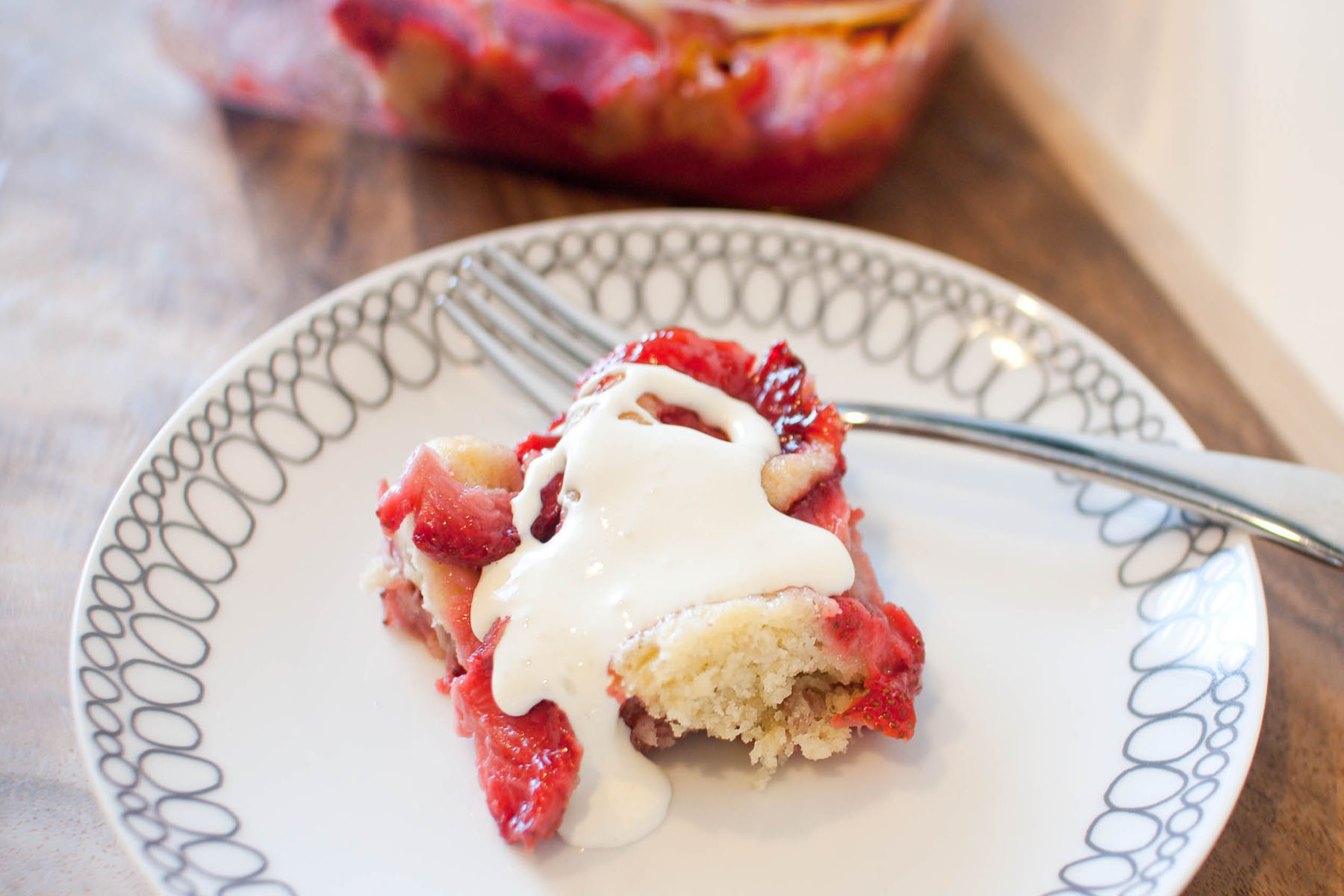 Strawberry Buttermilk Pudding Cake with Mascarpone from freshandfoodie ...