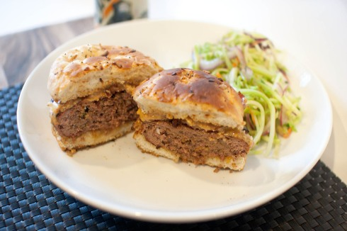 Sweet and Savory Peanut Butter Bacon Burgers from freshandfoodie.com @freshandfoodie