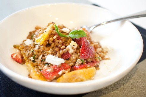 Summer Wheat Berry Salad with Strawberries and Basil from freshandfoodie.com @freshandfoodie