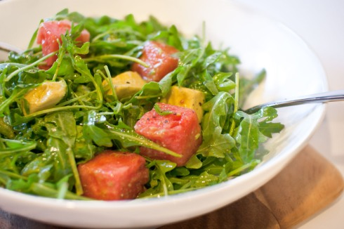 Arugula, Watermelon and Avocado Salad with Spicy Lime Vinaigrette from freshandfoodie.com @freshandfoodie