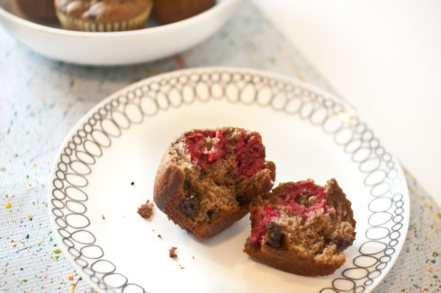 Double Chocolate Raspberry Muffins from freshandfoodie.com @freshandfoodie