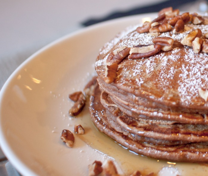 Bourbon County Stout Pancakes with Cardamom-Spiced Maple Syrup from freshandfoodie.com @freshandfoodie