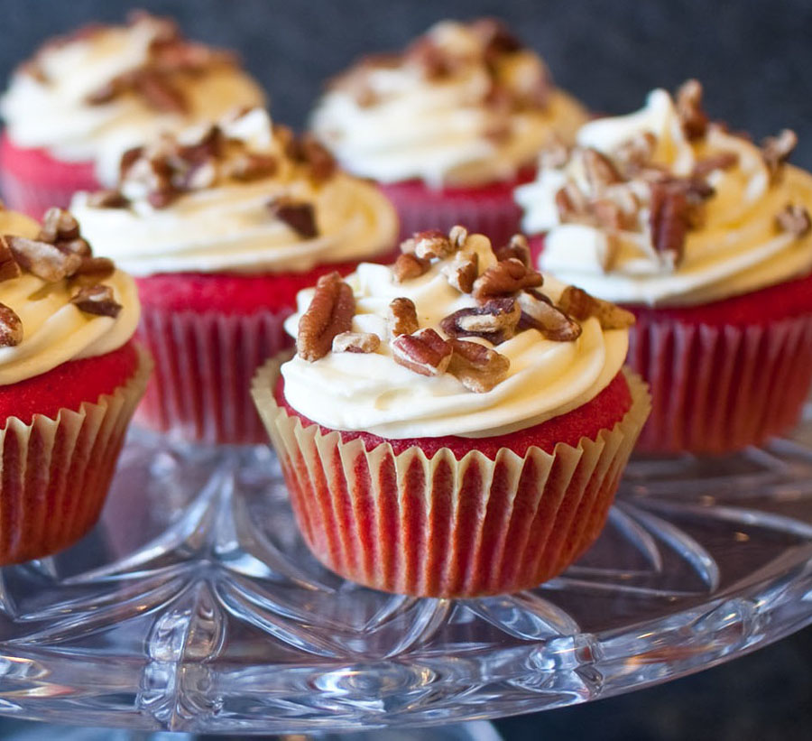 Red Velvet Cupcakes with Bourbon Cream Cheese Frosting | Fresh ...