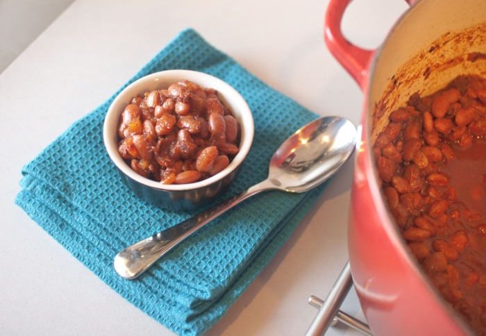 Spicy Beer and Bourbon Baked Beans from freshandfoodie.com @freshandfoodie
