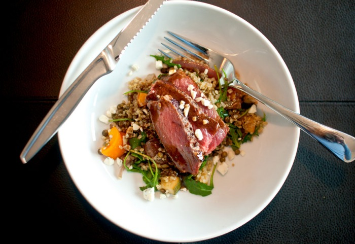 House Salad: Quinoa, Lentils and Veggies with Sliced Steak from freshandfoodie.com @freshandfoodie