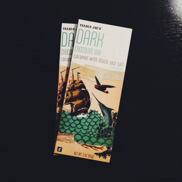 TJ's Dark Chocolate with Caramel and Black Sea Salt from freshandfoodie.com @freshandfoodie