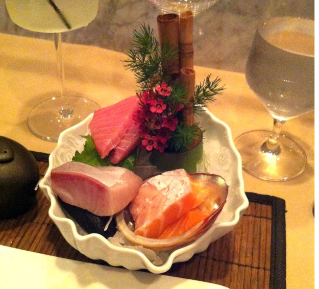 Fatty tuna, yellowtail belly, salmon belly prepared sashimi style from masaki  via freshandfoodie.com @freshandfoodie